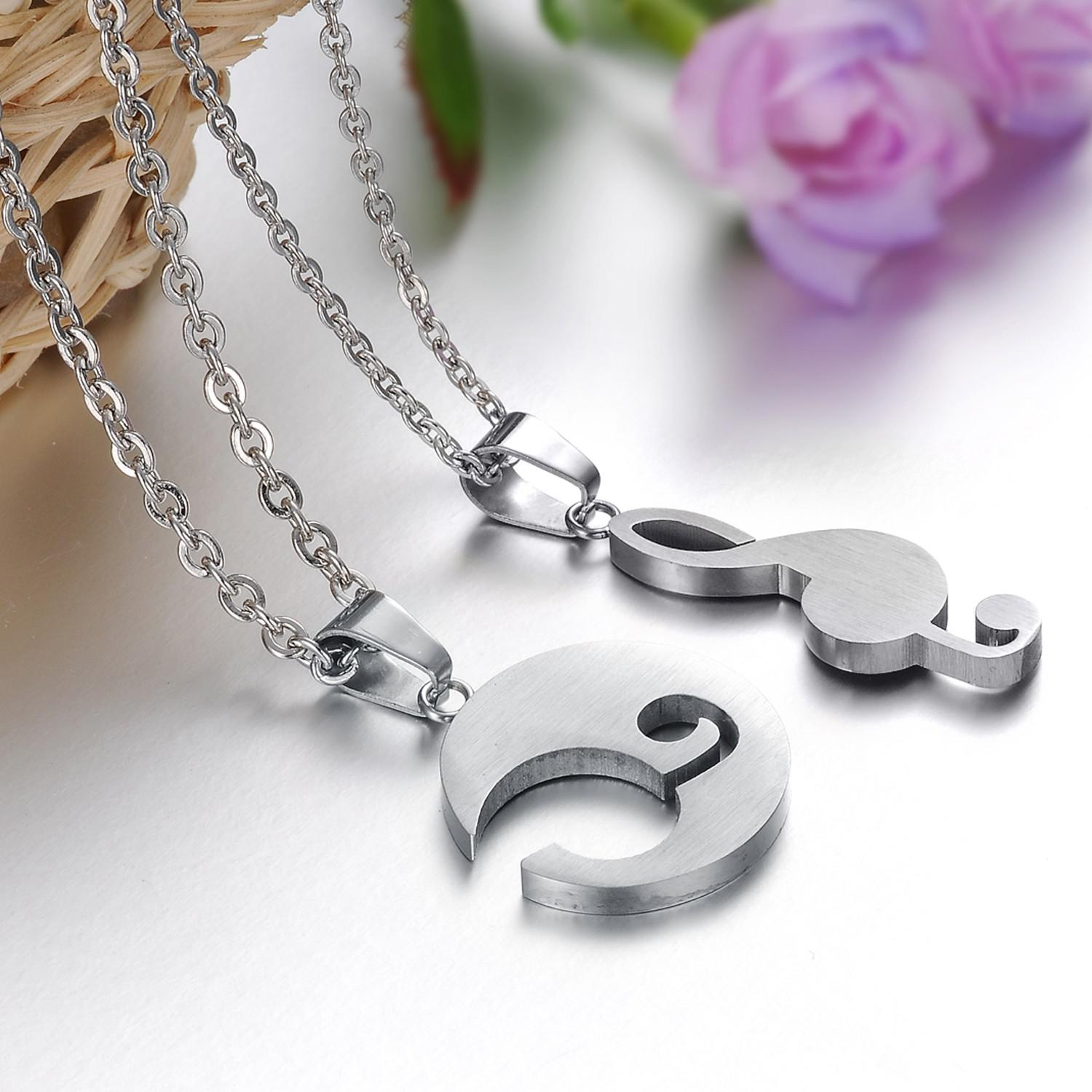 wholesale moon amp musical note couple gifts stainess steel pendant