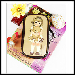 Wholesale Sweet Paper Doll - Makeup Pouch Coffee sweet PU leahter Paper Doll Mate design Big cosmetic bag make up handbag