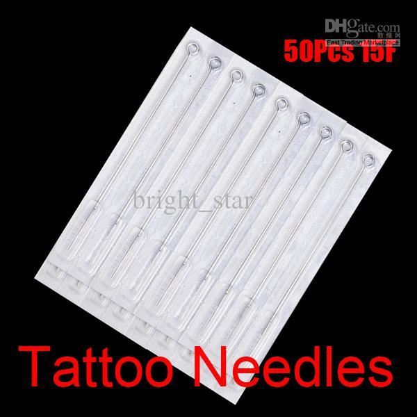 50 stks 15F Dispathable Steriele Tattoo Naalden 15 Platte Shader voor Tattoo Gun Ink Cups Tips Grepen Kits