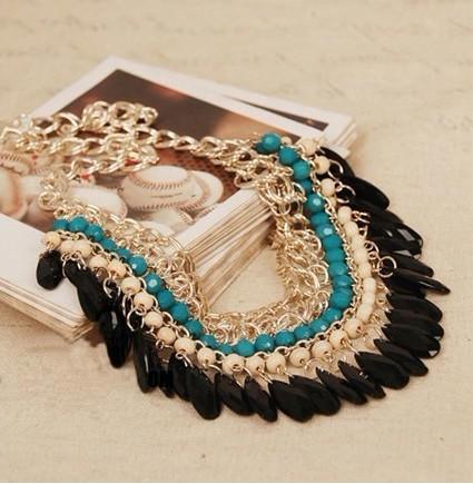 Nova moda chocker colares de ouro banhado em camadas gemas de madeira beads borlas colar jóias para mulheres presentes