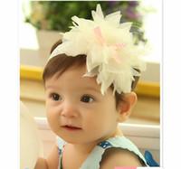 saç taç yaprakları toptan satış-Bebek Kız Headbands Güzel Dantel Şifon Yaprakları Bantlar Çocuklar Saç Aksesuarları