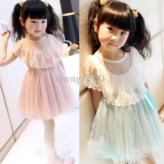 2013 Girl's Dresses Heart Lace Patchwork Yarn TuTu Dress Children's Clothing