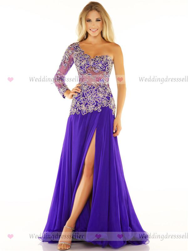 2016 Prom Dresses Purple One Sleeves Beaded Applique Evening Dress ...