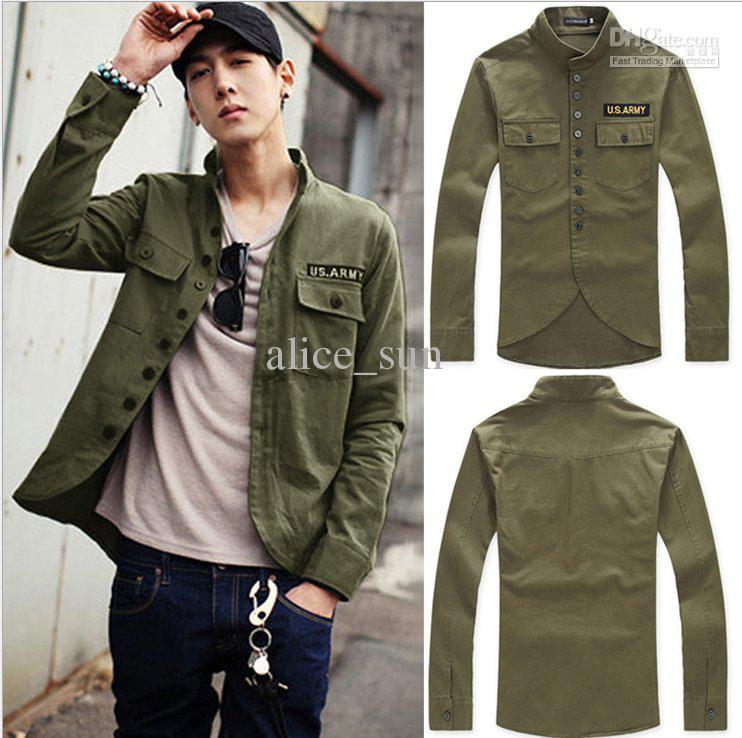 The Men Slim Leisure Badge Military Style Fashion Jacket Coats And ...