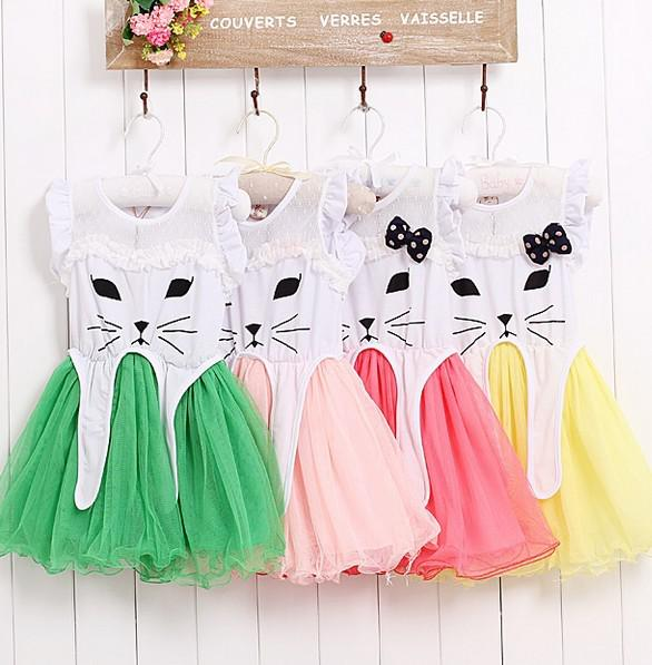 2013 Girl's Dresses Cat Ear Dress Lovely Yarn BABY Dress TuTu Not With Bows Children's Clothing
