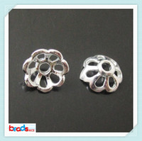 schmuck findet blumen groihandel-Beadsnice ID24315 Silber Blumen Perlenkappen passen Schmuckzubehör Metall Perle 50pcs / lot