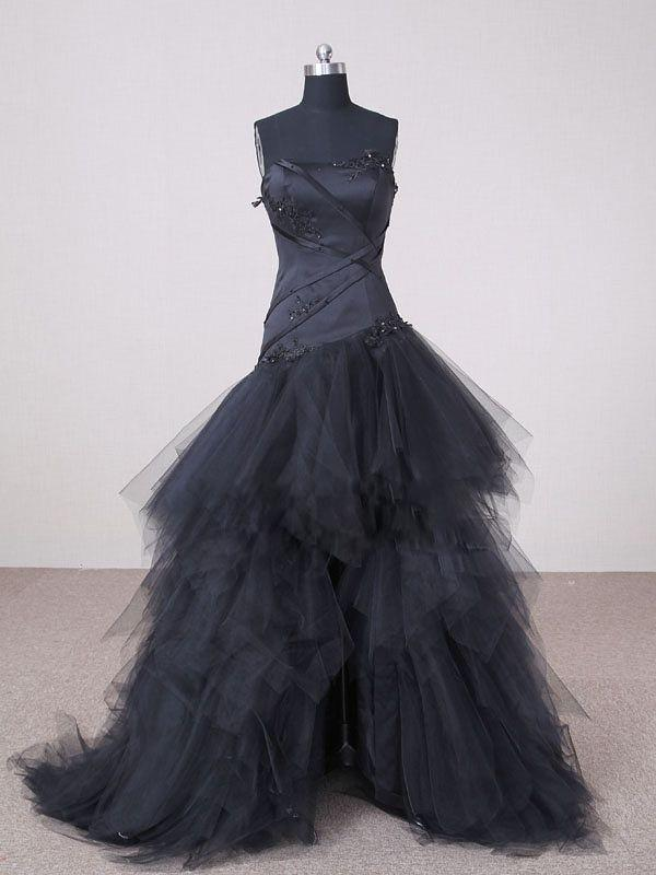 Discount Garden Black Wedding Dresses Hi Lo A Line Strapless Appliques Front Short And Long Back Tulle Bridal Gown T