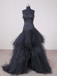 Wholesale Long Pleated Skirt Size 14 - Garden Black Wedding Dresses Hi-Lo A Line Strapless Appliques Front Short And Long Back Tulle Bridal Gown
