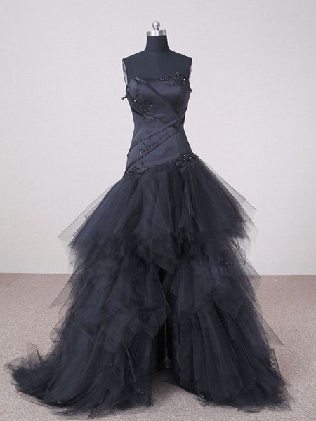 Garden Black Wedding Dresses Hi-Lo A Line Strapless Appliques Front Short And Long Back Tulle Bridal Gown