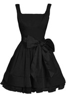 Wholesale Strapless Floral Mini Dress - 2016 Modern Black Short Wedding Dresses A Line Strapless Scoop Bowkmnot Taffeta Wedding Bridal Gown babydoll