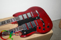 Wholesale Double Neck Left Hand - Custom 1275 Double Neck left handed guitar Double neck 6 12 strings 12 strings Electric Guitar in red Free Shipping