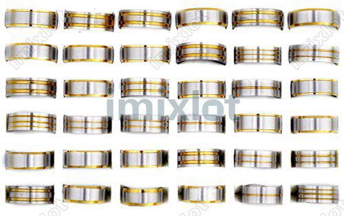 High Quality Golden Mix Design Fashion Stainless Steel Rings Fashion Steel Ring Jewelry [SR107*48]