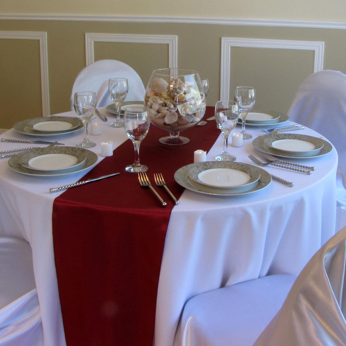 Free Shipping 25pcs Burgundy Satin Table Runners For Wedding/banquets
