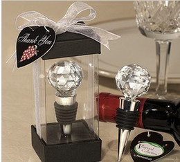 Wholesale Wholesale Christmas Favors - New top Chrome Bottle Stopper with Crystal Ball Lovebirds Wedding Favors Wine Favor Christmas Gift