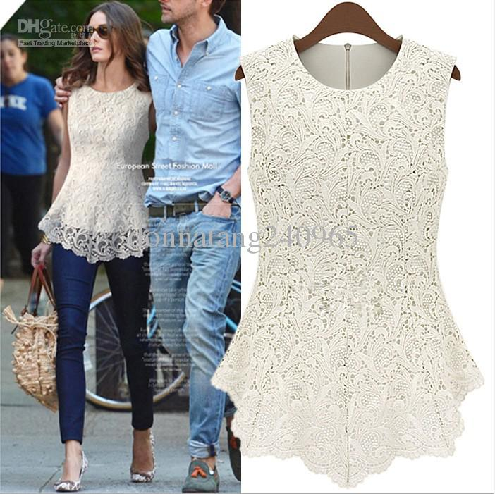 2020 Fashion Sleeveless Lace Blouses Women New Design Ladies Lace Top Blouse From Donnatang240965 29 72 Dhgate Com