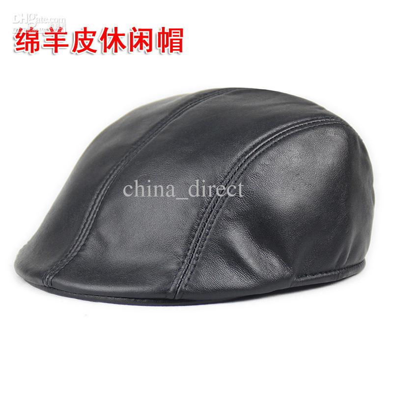 New Newsboy Hat Cap Gatsby Golf Real Leather Men Women Beret Cabbie Driving  Flat  2900 Newsboy Hat Online with  124.6 Piece on China direct s Store ... 6fede8ffdaf