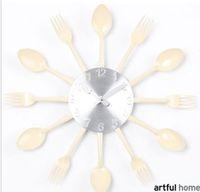 Wholesale Originality Clock - Yellow wall clock Knife Fork Spoon Originality clock Kitchen Restaurant The wall Decoration