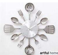 Wholesale Originality Clock - 2015 Hot Sale The wall Decoration quartz wall clock Knife Fork Spoon Originality clock Kitchen Restaurant