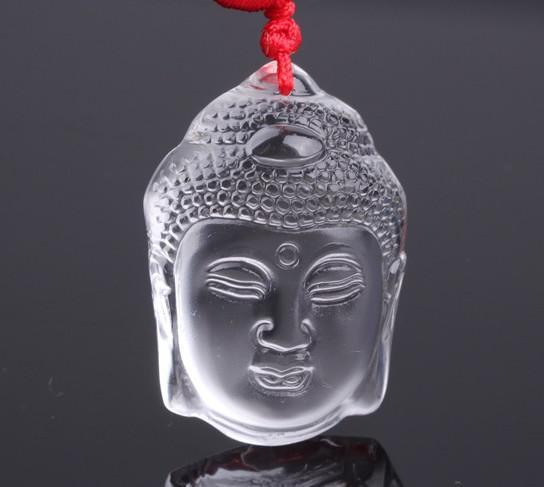 Collar pendiente cristalino natural blanco tallado de Buda de la cabeza /