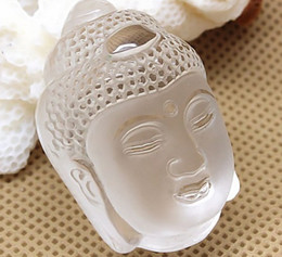 american carvings Australia - natural carved white crystal Buddha head pendant necklace Amitabha Lucky security and peace