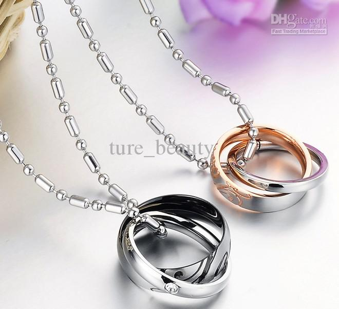 com double minimalist amazon circle ring gift entwined pendant interlocking dp necklace