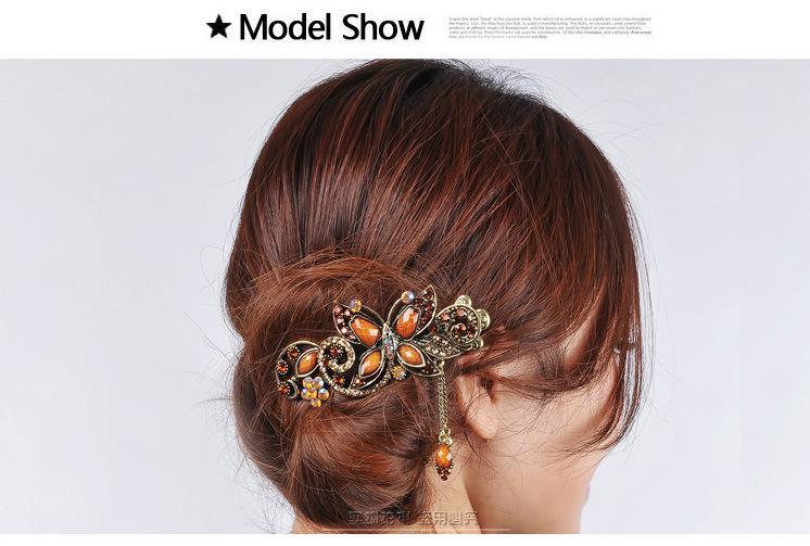 2013 pince à cheveux pour femmes rétro tribunal strass épingles à cheveux brillante fourche à cheveux