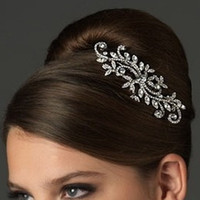Wholesale Crystal Swirls - Free Shipping In stock Silver plated Vintage Swirl Bridal Antique Wedding Bridal Hair Comb