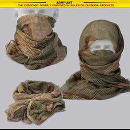 Wholesale Desert Camo Scarf - 3-color desert Camouflage Camo Tactical Army Military Hunting Fishing Mesh Breathable Scarf Wrap Mask Shemagh Veil