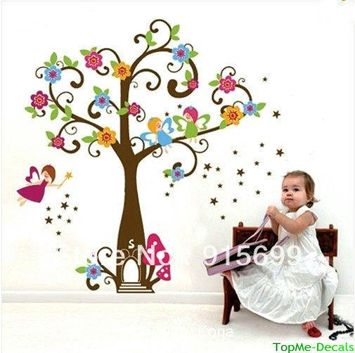 Fairy Tree Flowers Wall Stickers Art Decal Girls Bedroom Decor