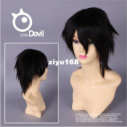 Wholesale L Death Note Cosplay - Free Shipping Anime Cosplay Wigs Death Note L Lawliet Short Black Hair