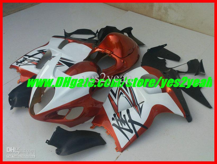Injectie Verkosten Carrosserie voor Suzuki Hayabusa GSXR1300 96 99 00 07 GSX-R 1300 GSX-1300R1996 1999 2007 Wit Oranje Faiirngs Body Kit