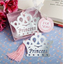 Wholesale Crown Favors Gifts - 20pcs lot wedding favors party shower baby gifts Bookmark princess crown Design pink tassel ws013p