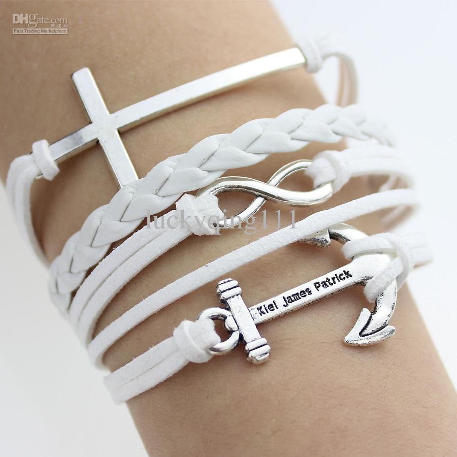 White New Cross Anchor Leather Bracelet Rope Chain Bracelet Handmade  Friendshi Jewelry