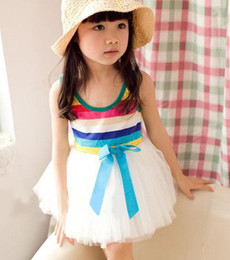 Robe Rayures Bleues Pas Cher-4pcs * Summer Girl's Rainbow Robes Baby Dress Enfants Jupes fille Bow Wide Stripe Tutu jupe