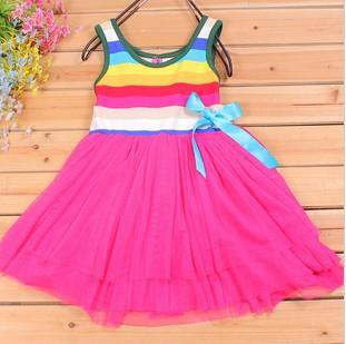 4 stks * zomer meisje regenboog jurken baby jurk kinderen rokken meisje boog brede streep tutu rok