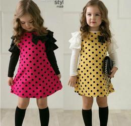Wholesale Round Tutu - 2016 New children girls lovely long sleeve round dot one-piece dress kid skirt QZ49