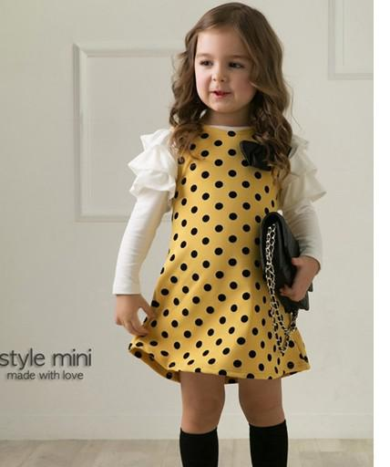 Le nuove ragazze dei bambini bella manica lunga rotonda dot un pezzo QZ49 gonna abbigliamento bambina