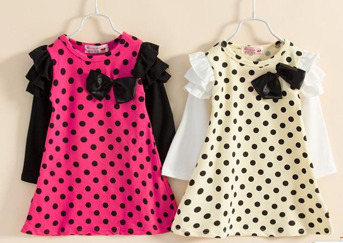Nieuwe kinderen meisjes mooie lange mouw ronde dot eendelige jurk kid rok qz49