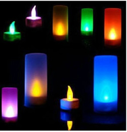 Wholesale Led Color Changing Candle Battery - Novelty LED Candles Electronic Lights TEA LIGHTS BATTERY CANDLES 7 Color Change Flameless canle for wedding birthday party Valentine's Day