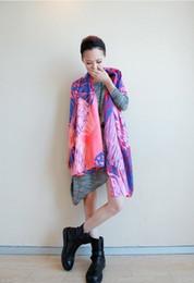 Bufanda extra larga de color fluorescente chal de fluorescencia del sol mantón fluorescente abstracto de algodón mercerizado voile sc