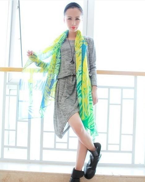 Echarpe extra long châle couleur fluorescence châle de soleil fluorescence abstrait mercerisé coton voile sc
