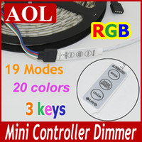 Wholesale Mini String Lights Free Shipping - Free shipping Mini Controller Dimmer for SMD 5050 3528 RGB LED Strip string Light 12V 6A 3 Keys