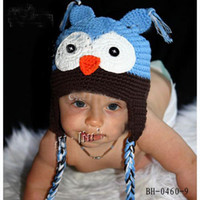 ingrosso gufo crochet fatto a mano-20pcs * Toddler Owl EarFlap Crochet Hat Owl Baby Handmade Crochet Hat Handmade OWL Beanie Cappello lavorato a maglia
