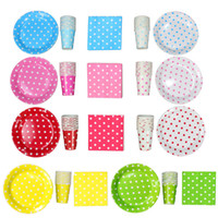 Wholesale Paper Dishes Wholesale - 9 Inch Polka Dot Paper Plate Paper Dish Paper Napkins 1168pcs Free Shipping via DHL FEDEX EMS