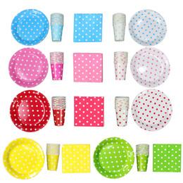 Wholesale Paper Dishes Wholesale - 9 Inch Polka Dot Paper Plate Paper Dish Paper Napkins 1168pcs Free Shipping via DHL FEDEX EMS
