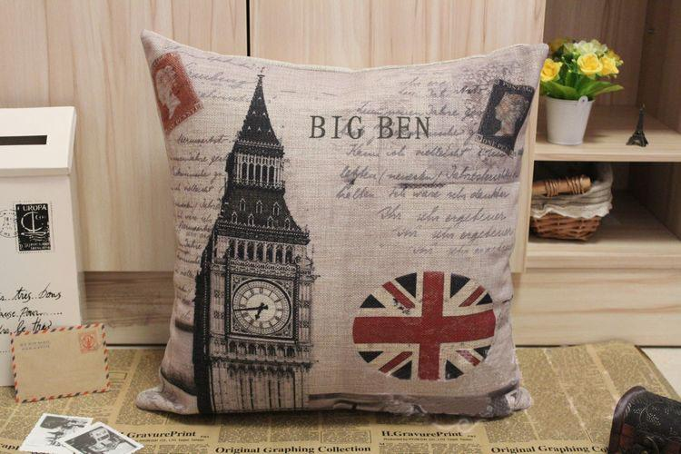 Awesome Novelty Gift London Scenic Big Ben The Union Jack Flag Queen Post Stamp  Pattern Linen Cushion Cover Throw Pillow Case Cushions For Patio Furniture  ...