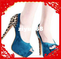 Wholesale Kvoll Sexy Heels - Free Shipping 2013 new sexy wedding KVOLL leopard open toe platform high heel sandals, sandals for w