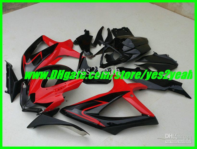 SUZUKI GSXR 용 레드 블랙 페어링 바디 키트 600 750 08 09 K8 차체 GSXR600 GSXR750 2008 2009 페어링 세트