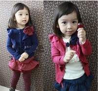Wholesale Girl Children Princess Coat - 2016 new children girls bowknot decorative border long sleeve cardigan princess T-shirt kid baby coat overcoat SZ85