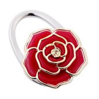 Wholesale Purse Hooks Flower - 100pcs lot rose flower handbag hanger Purse Hook foldable Bag Holder wk006